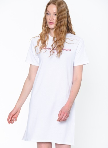 Calvin Klein Kısa Kollu Mini Elbise Beyaz